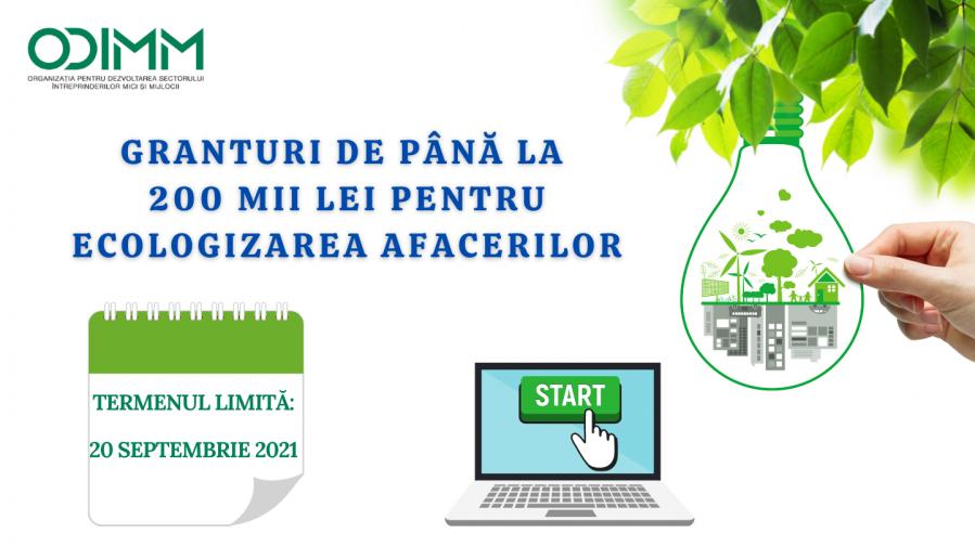 Termen extins la Concursul de granturi pentru Ecologizarea Afacerilor