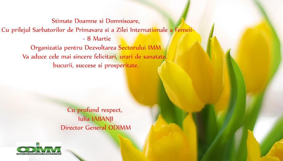 Felicitări Doamnelor şi Domnişoarelor cu ocazia Zilei Internaţionale a Femeii - 8 Martie